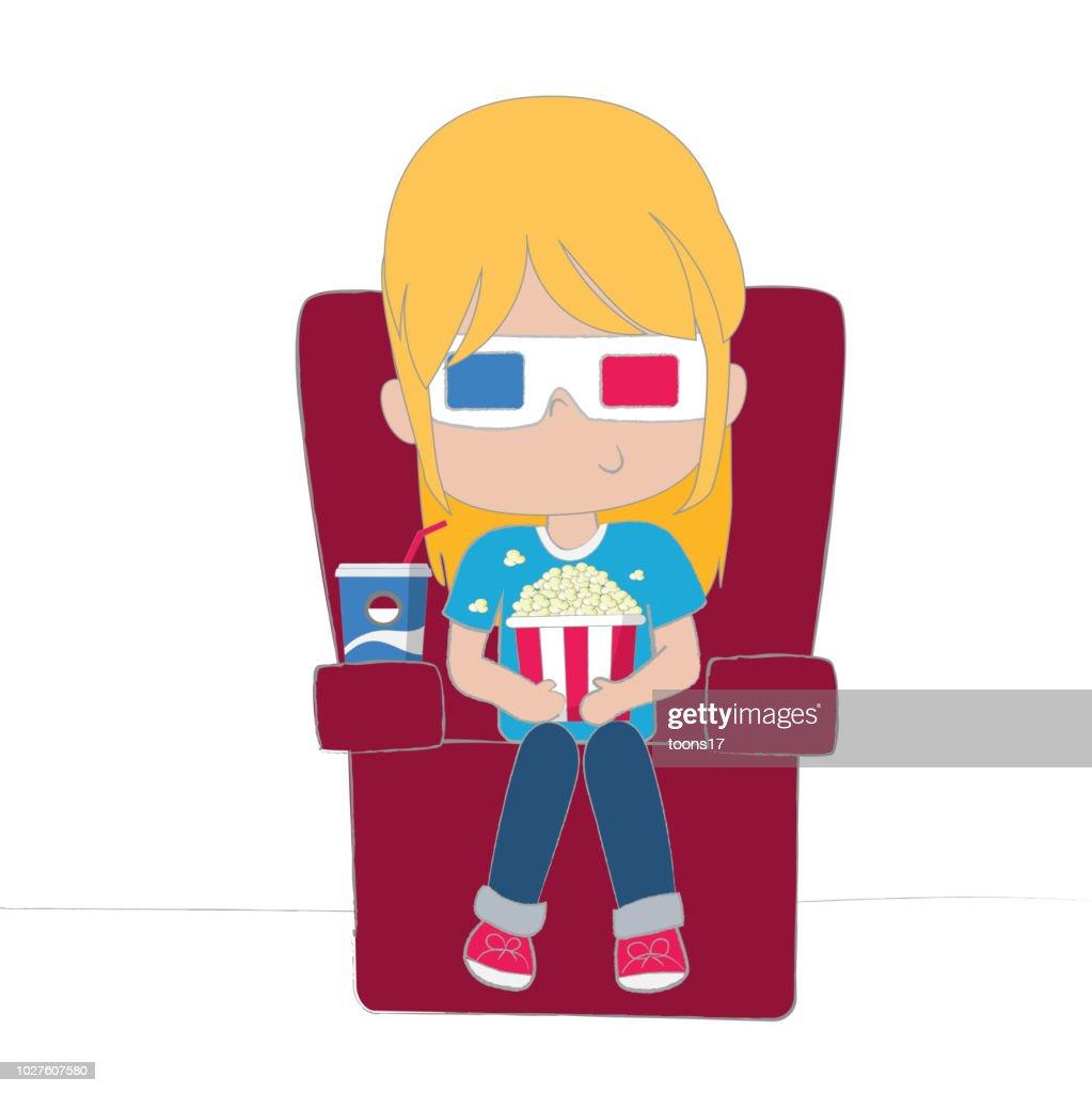 Cute girl watching movie wearing 3D glasses