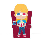 Cute girl watching movie wearing 3D glasses