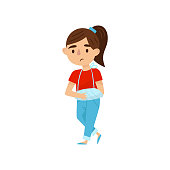 Cute girl with broken arm in bandages. Little child with injury. Kid with sad face expression. Flat vector design