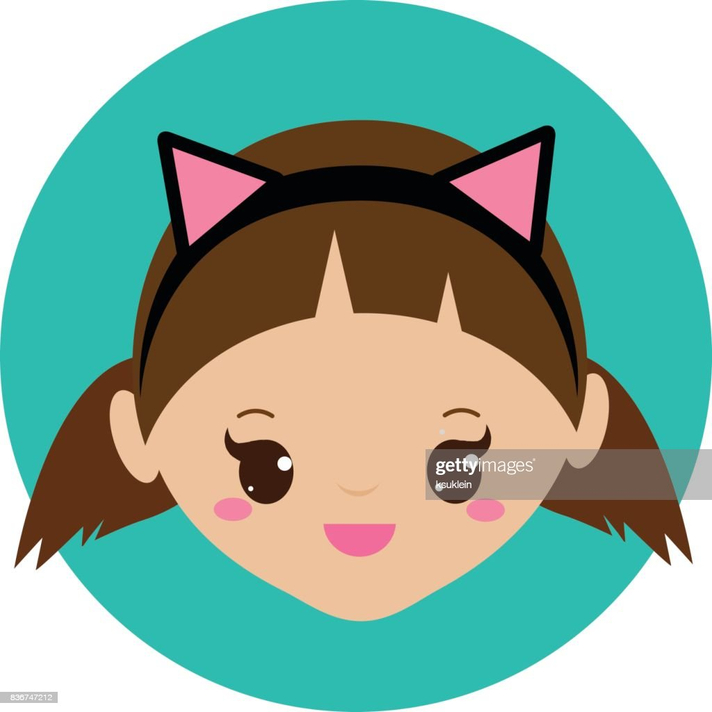 cute girl with cat ears headband vector illustration for kids