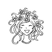 Cute girl with floral hairstyle for your design