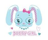Cute girlish illustration for baby girl