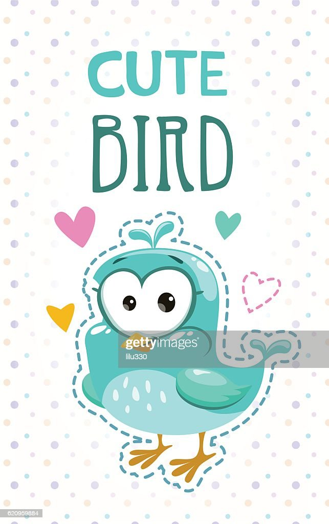Cute girlish illustration with funny blue bird.