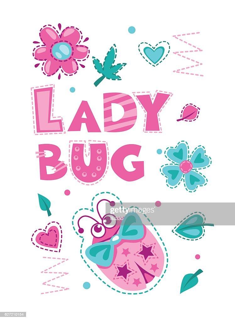 Cute girlish illustration with funny ladybug