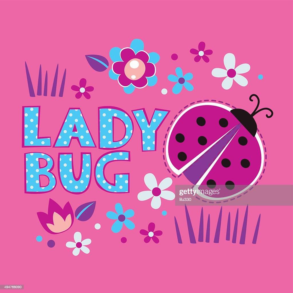 Cute girlish illustration with ladybug and flowers