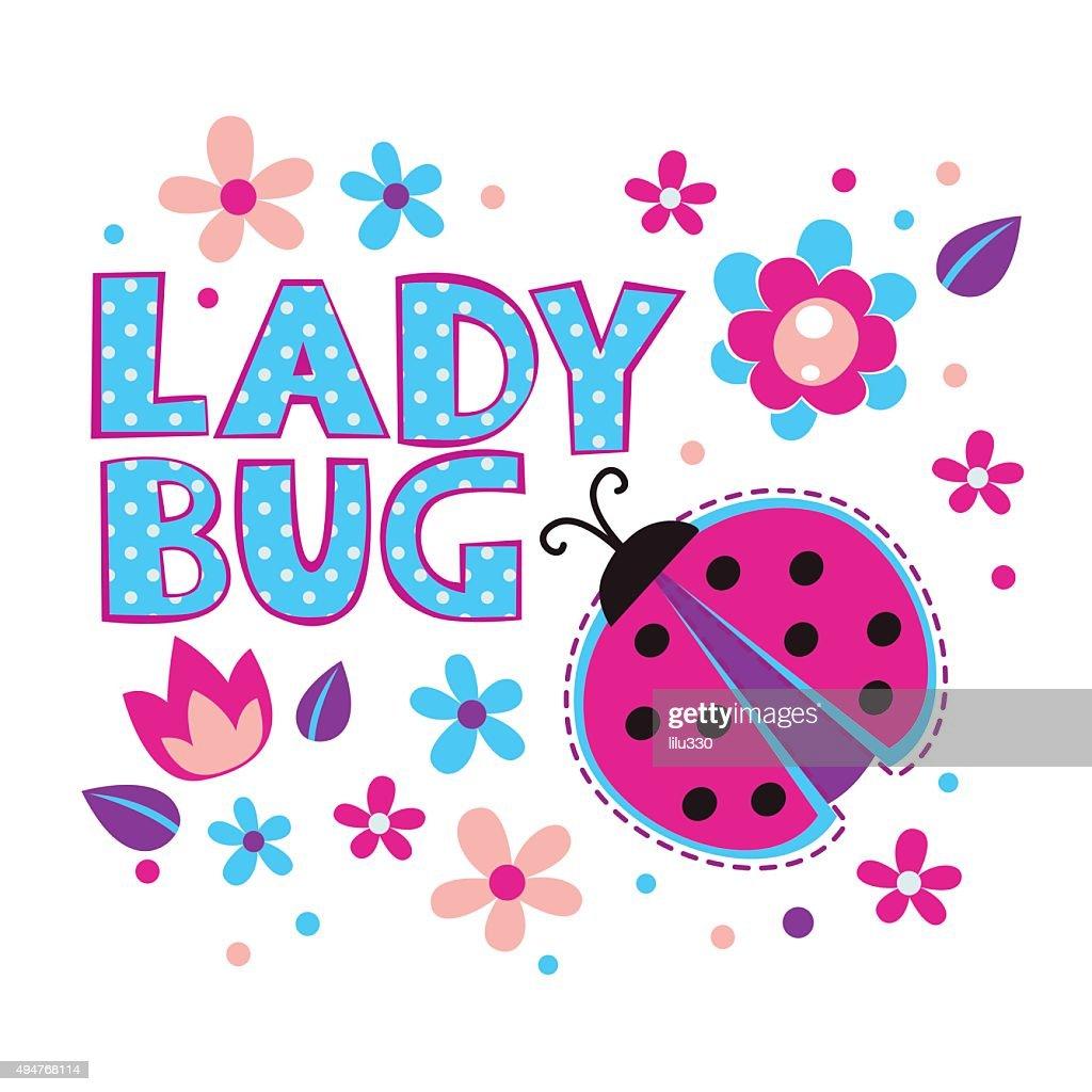 Cute girlish illustration with ladybug