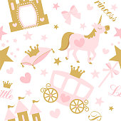 Cute girlish seamless pattern with royal carriage,castle and unicorn.