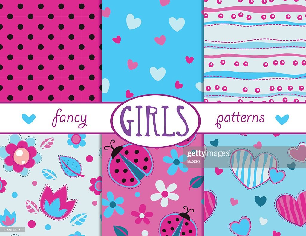 Cute girlish seamless patterns set