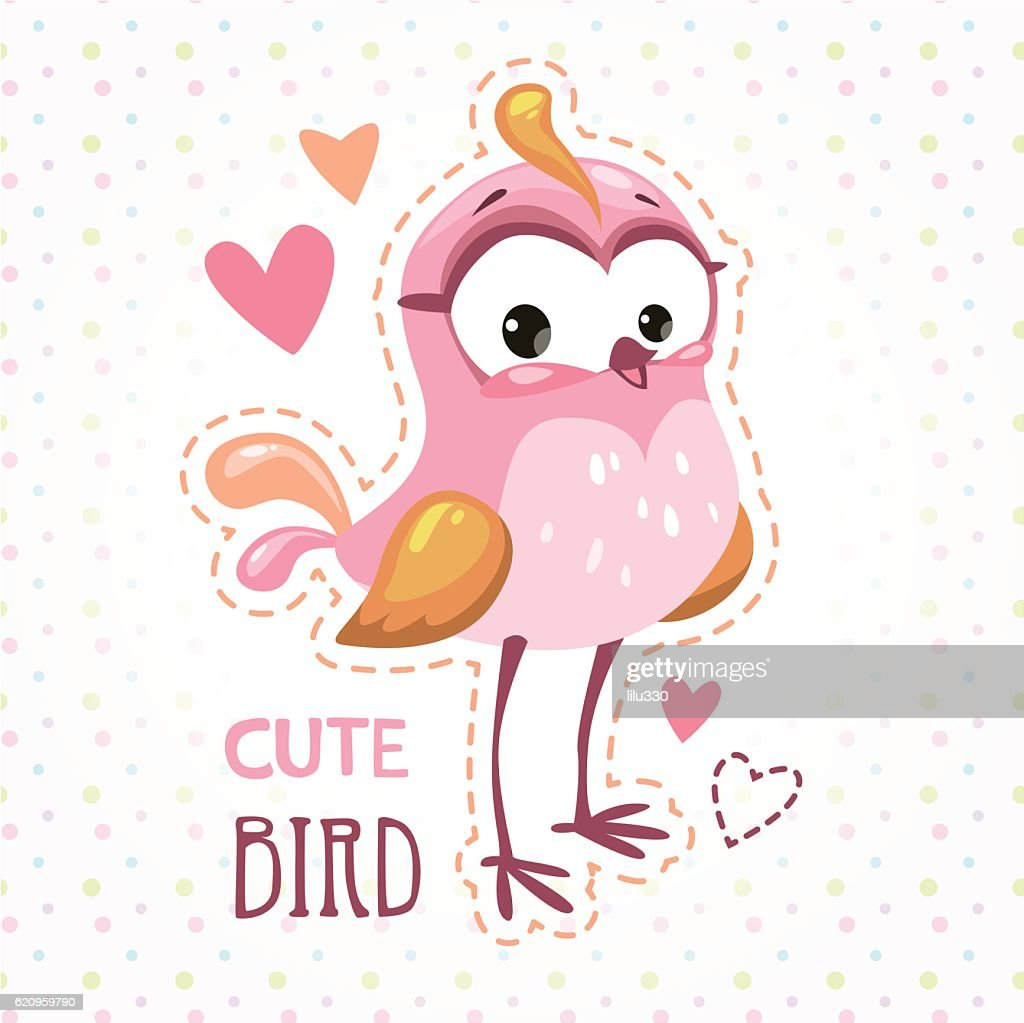 Cute girlish t shirt print template with bird