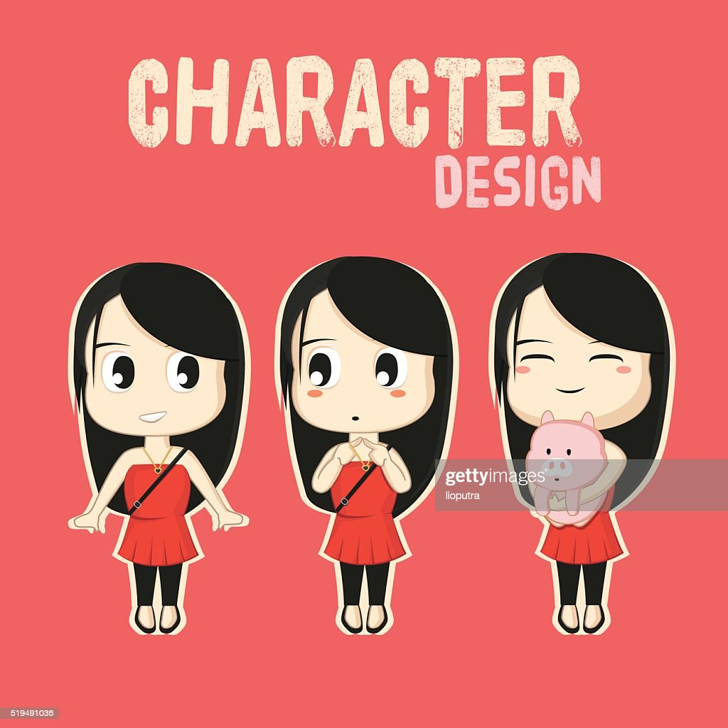 Cute Girls Character with different Style. Illustration. Flat Vector Isolated.
