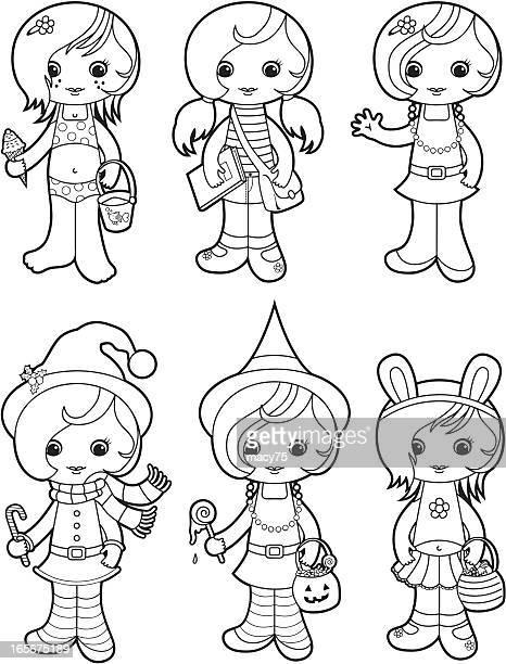 Cute girls coloring set