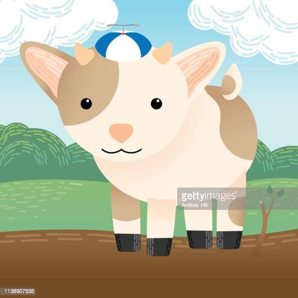 Cute Goat Wearing a Hat