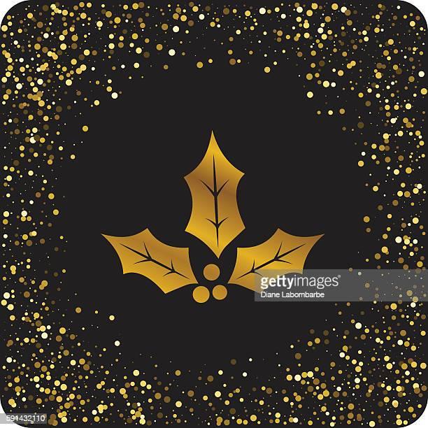 illustrations, cliparts, dessins animés et icônes de cute gold glitter christmas holiday icons - houx