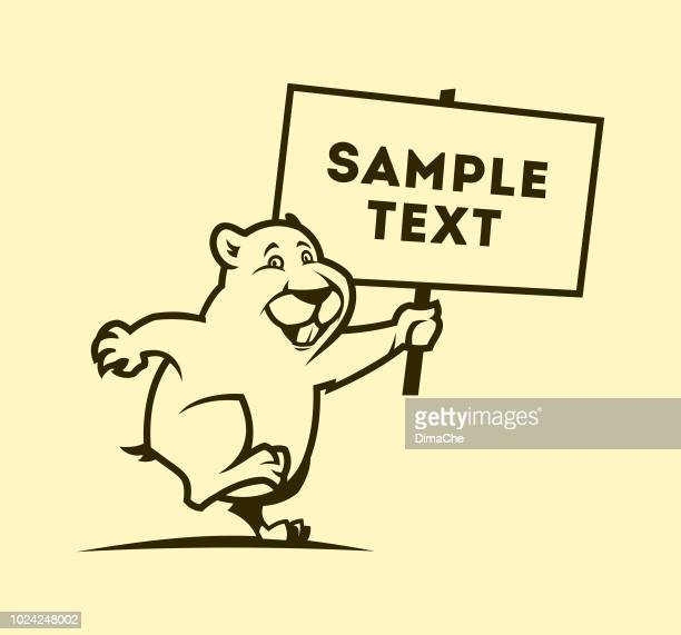 cute gopher mascot outline silhouette holding sign board with space for your text or logo - funny beaver stock illustrations