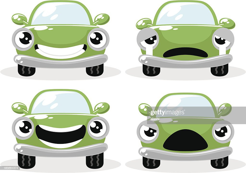 Cute green car in various moods, Happy, Crying, Angry