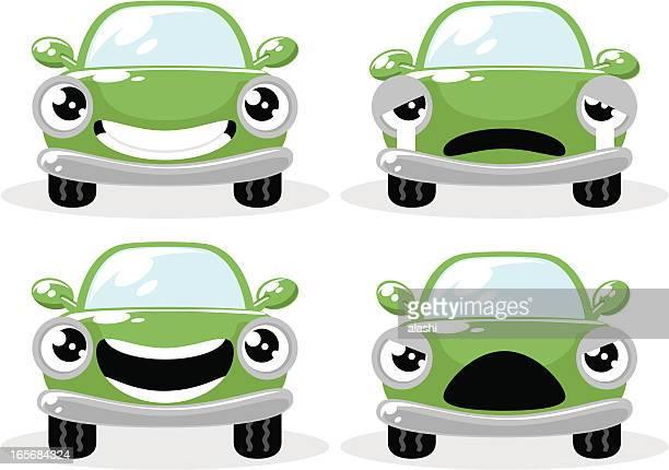 かわいいグリーンお車で、さまざまなムードで、頭、怒っている - 人面点のイラスト素材/クリップアート素材/マンガ素材/アイコン素材