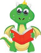 cute green dragon reading a book