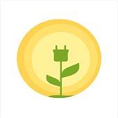 cute green energy icon vector illustration