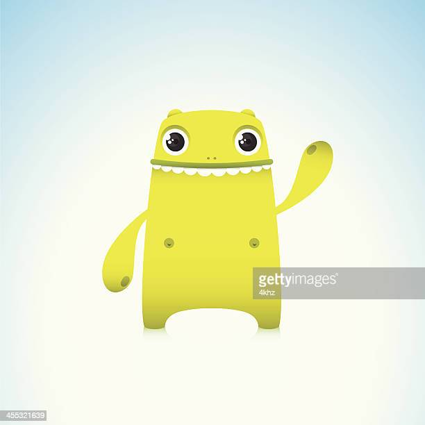 Cute Green Monster Character Waving With Smile