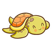 cute green orange old turtle