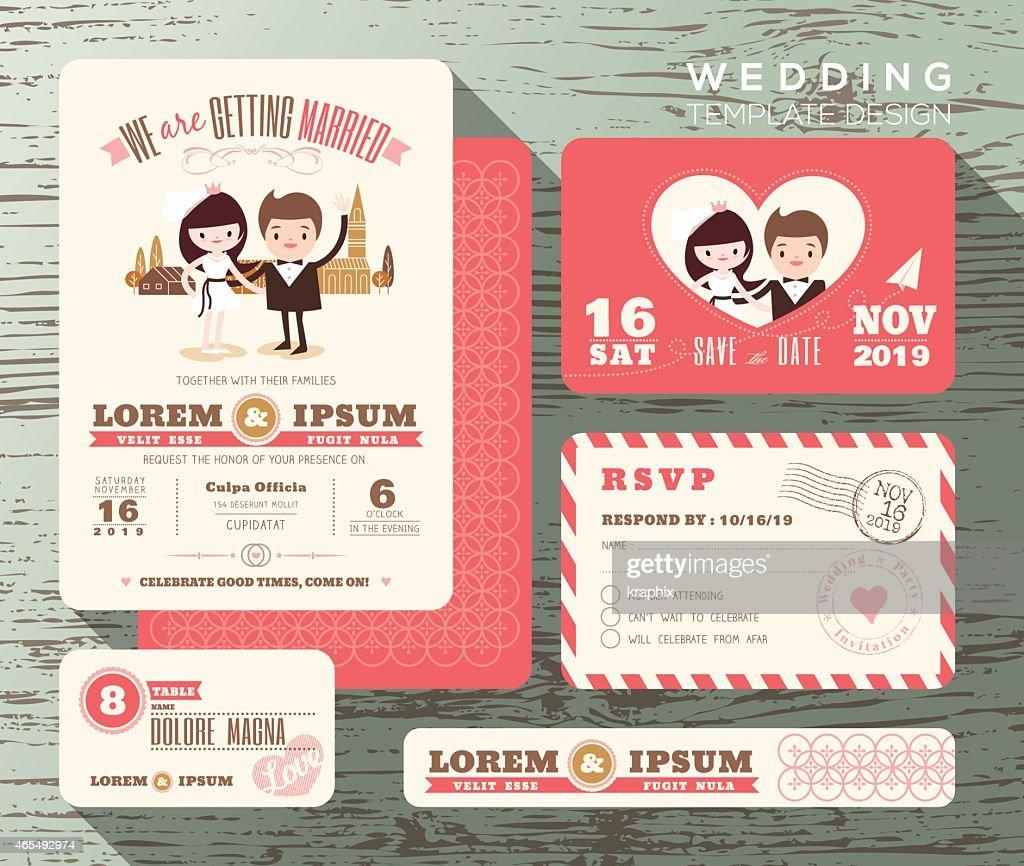Cute Groom And Bride Couple Wedding Invitation Set Design Template ...