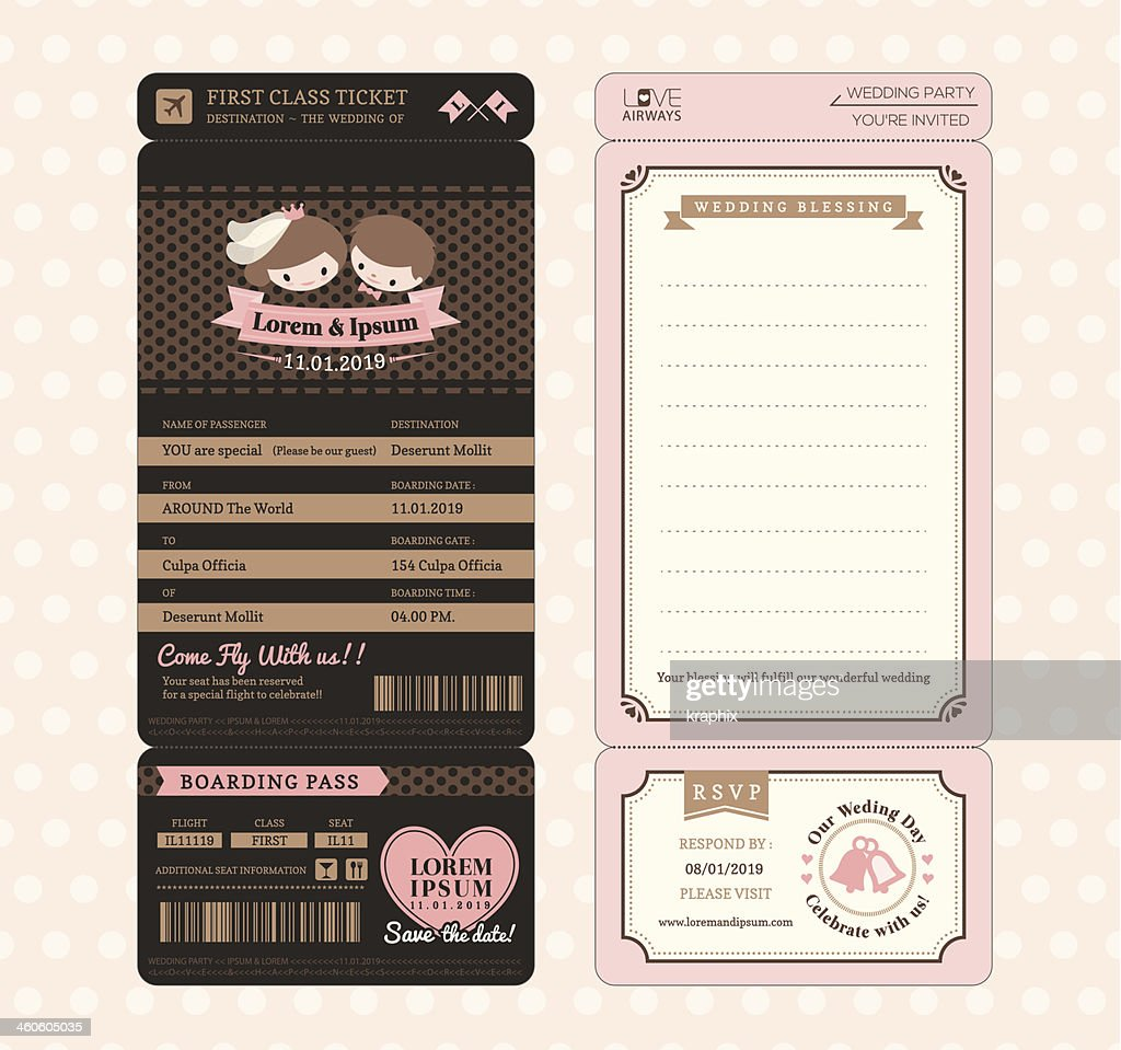 Cute Groom and Bride Vintage Boarding Pass Wedding Invitation