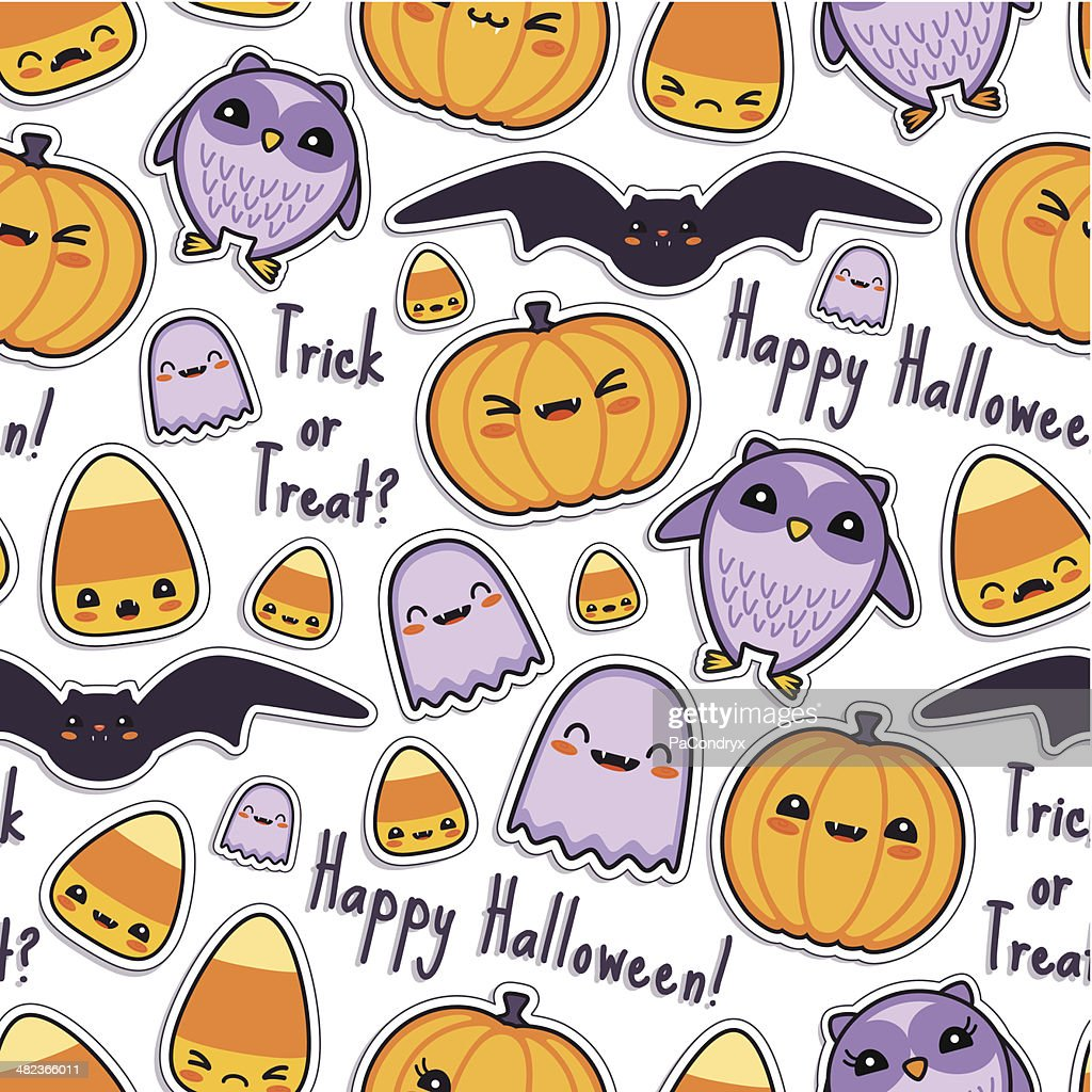 cute halloween kawaii pattern seamless vector art | getty images