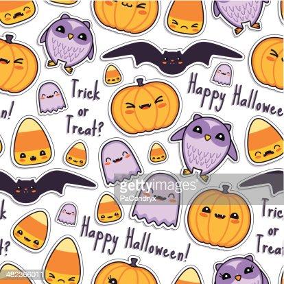 Cute Halloween Kawaii Pattern Seamless Vector Art   Getty Images