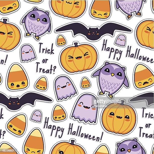 Cute Halloween Kawaii Pattern Seamless