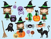 Cute Halloween little Witch and Wizard Vector