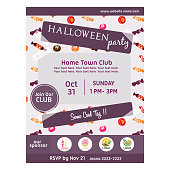 cute halloween party poster with candy pattern
