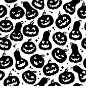 Cute halloween pumpkins seamless pattern