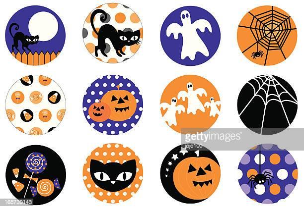 Süße Halloween-Symbol und Icon-Set