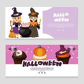 cute halloween theme banner with magic pot