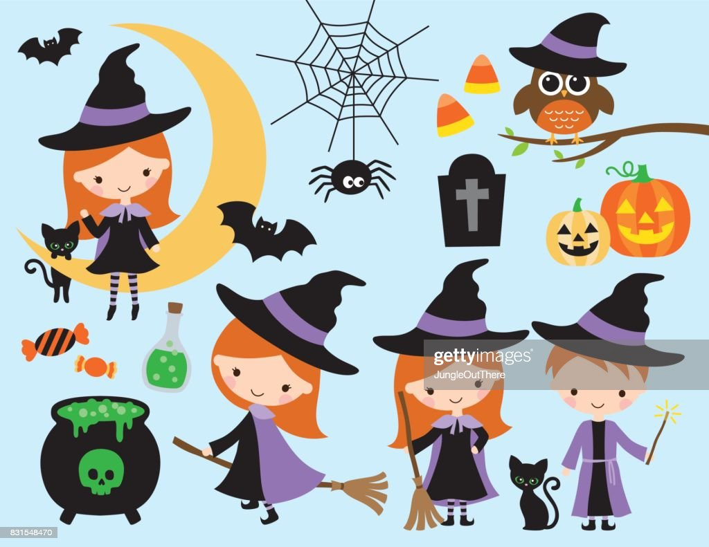 Cute Halloween Witch and Wizard Vector