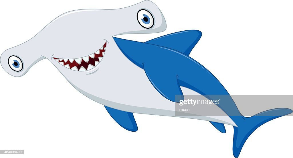 Cute hammerhead shark cartoon
