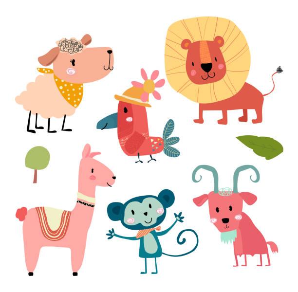 cute hand draw wild animal cartoon character set