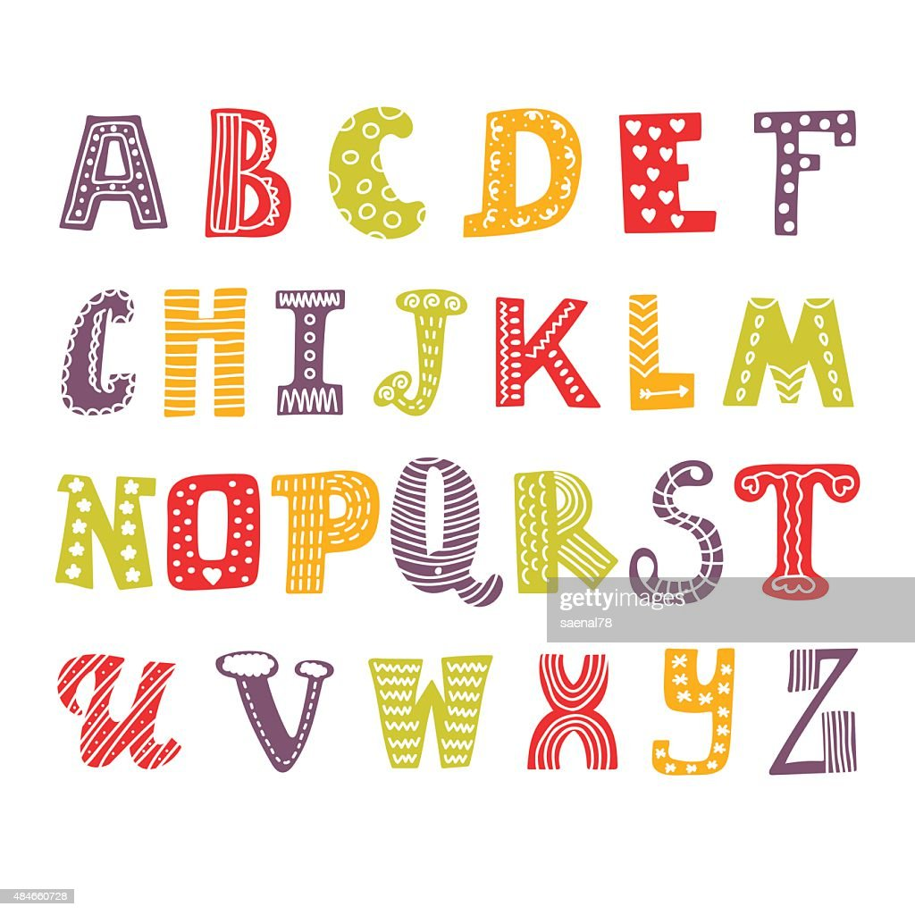 Cute hand drawing alphabet. Funny font. Hand drawn design