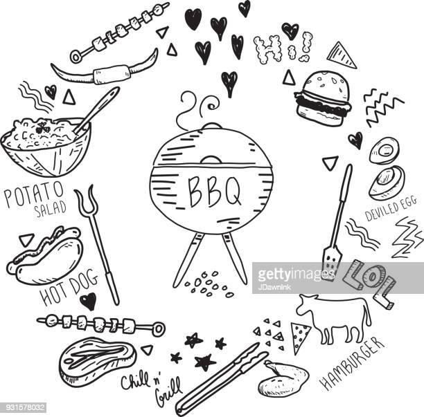 cute hand drawn barbecue elements set in a circle - hamburger stock illustrations, clip art, cartoons, & icons