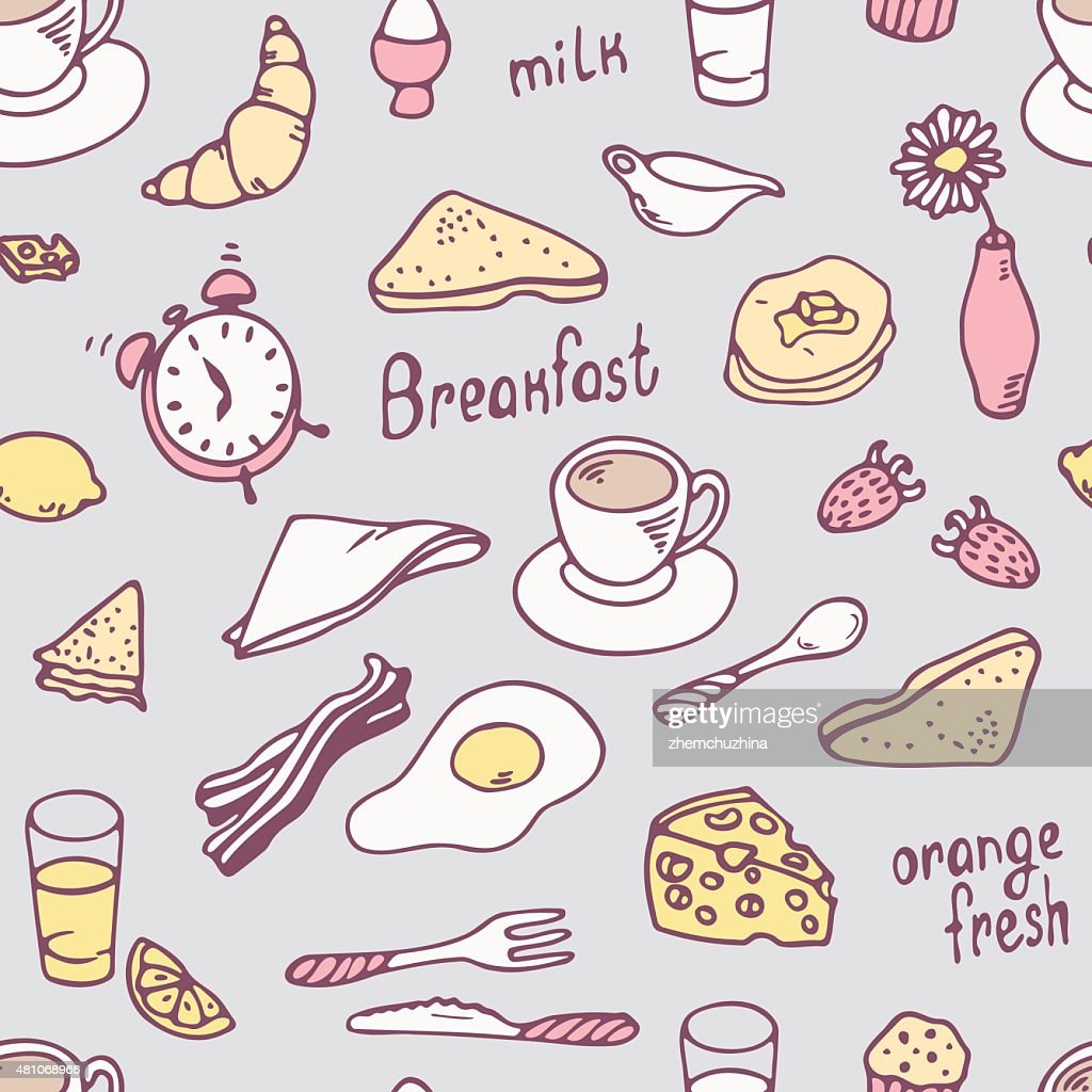 Cute hand drawn breakfast seamless pattern