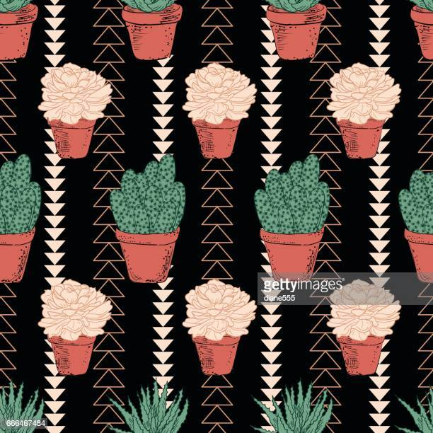 cute hand drawn cactus background - pottery stock illustrations, clip art, cartoons, & icons
