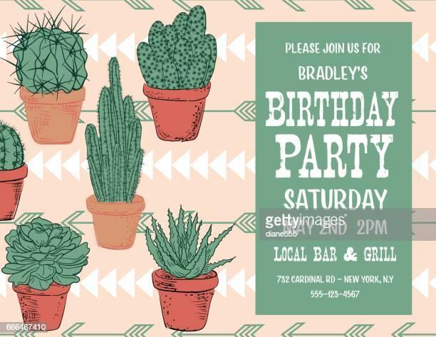 ilustraciones, imágenes clip art, dibujos animados e iconos de stock de dibujado a mano lindo cactus invitación fiesta - cactus