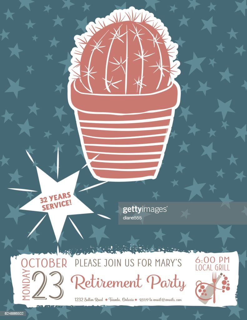 cute hand drawn cactus retirement party invitation template vector art