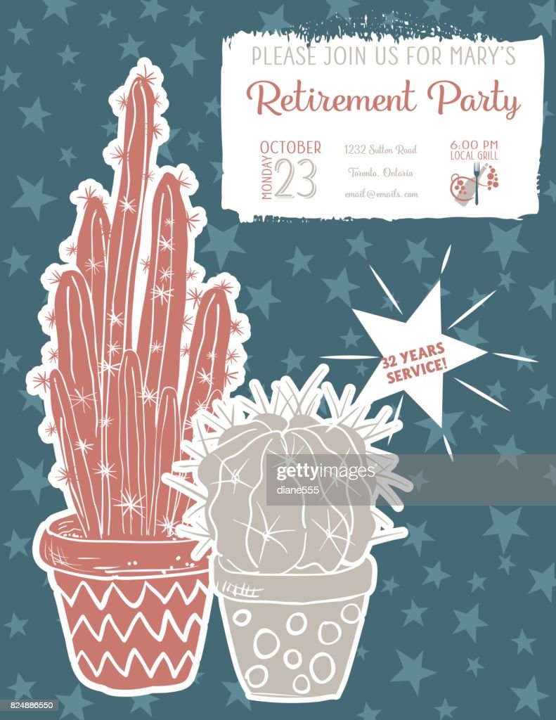 Cute Hand Drawn Cactus Retirement Party Invitation Template Vector