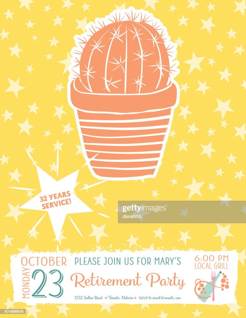 Cute Hand Drawn Cactus Retirement Party Invitation Template Vector ...