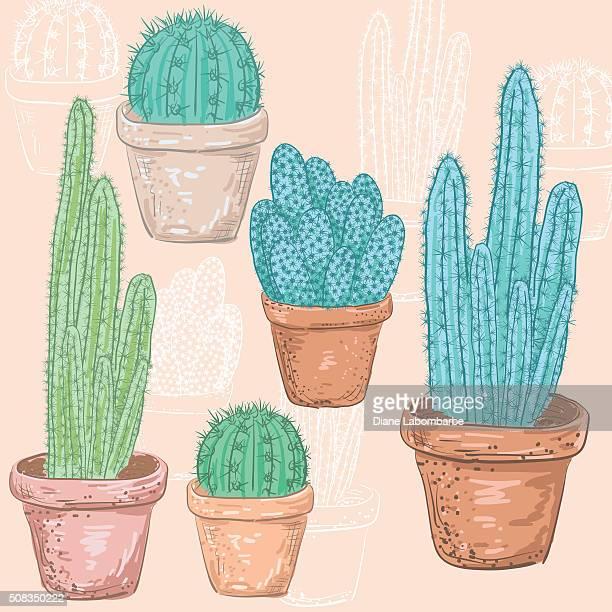 ilustrações de stock, clip art, desenhos animados e ícones de cato fofinho desenhado à mão conjunto - planta de vaso