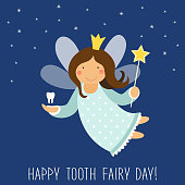 Cute hand drawn card with funny smiling cartoon character of tooth fairy