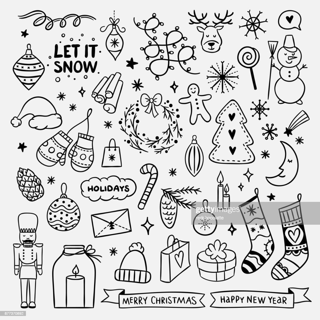 Cute Hand Drawn Christmas Elements New Year And Christmas Doodle For