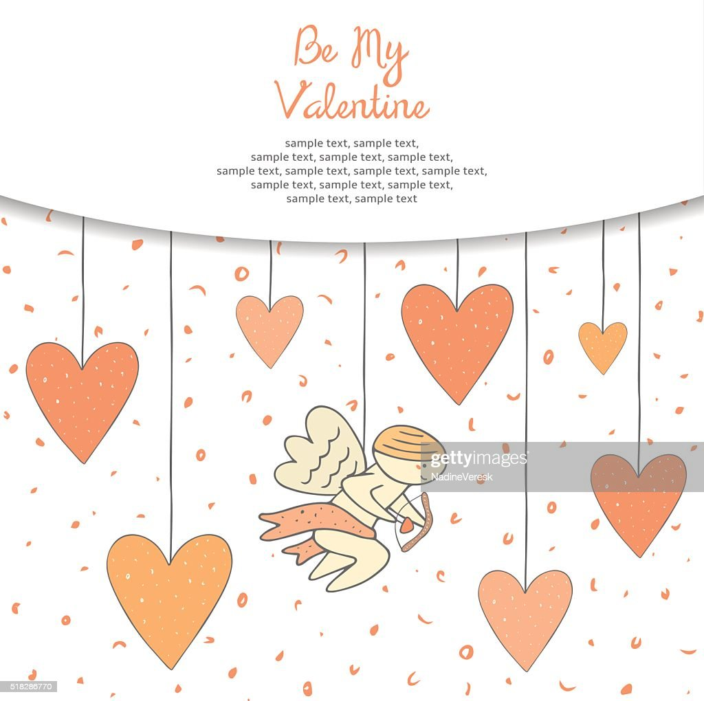 Cute hand drawn doodle St Valentines day postcard