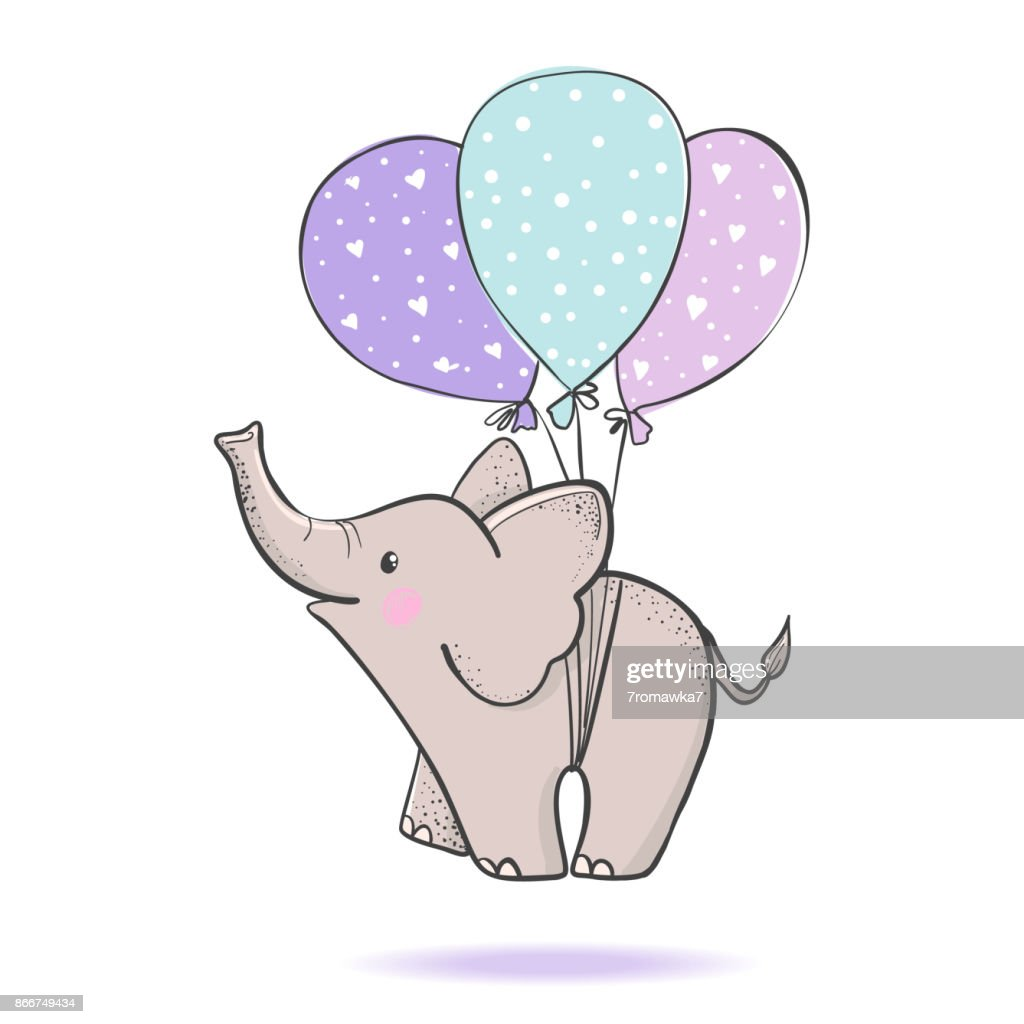 Cute hand drawn elephant flying on balloons.